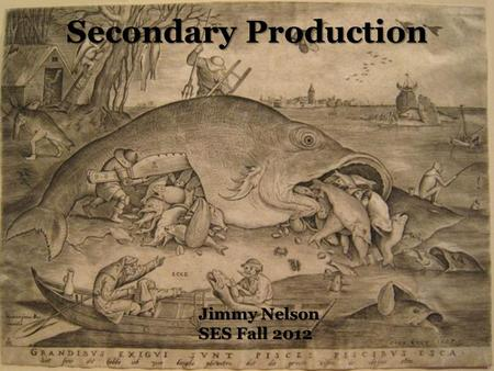 Secondary Production Jimmy Nelson SES Fall 2012. SECONDARY PRODUCTION  WHAT IS IT?  WHAT INFLUENCES IT?  WHAT DETERMINES PATTERNS OF ENERGY FLOW THROUGH.