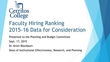 Faculty Hiring Ranking 2015-16 Data for Consideration Presented to the Planning and Budget Committee Sept. 17, 2015 Dr. Kristi Blackburn Dean of Institutional.