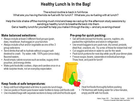 Healthy Lunch Is In the Bag! The school routine is back in full-force. What are you having the kids re-fuel with for lunch? What are you re-fueling with.