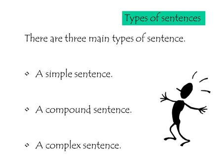 Types of sentences There are three main types of sentence. A simple sentence. A compound sentence. A complex sentence.
