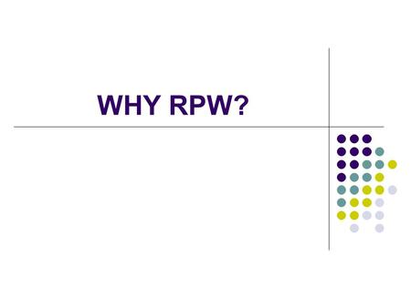 WHY RPW?. OBJECTIVES OF THE COURSE SOURCES OF RESEARCH QUESTIONS Primary research (printed, electronic) Secondary: Books Position papers Literature Reviews.