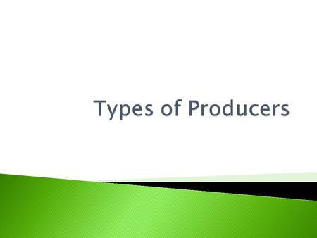  There are many different types of producers in our economy. We can classify them as either private or public producers.