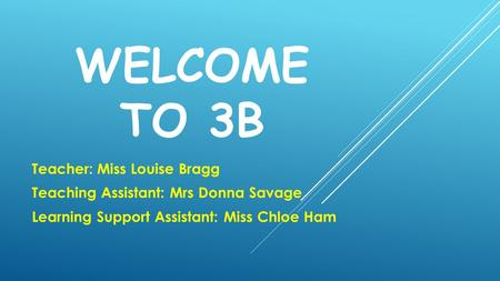 WELCOME TO 3B Teacher: Miss Louise Bragg Teaching Assistant: Mrs Donna Savage Learning Support Assistant: Miss Chloe Ham.
