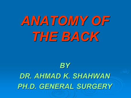 ANATOMY OF THE BACK BY DR. AHMAD K. SHAHWAN PH.D. GENERAL SURGERY.