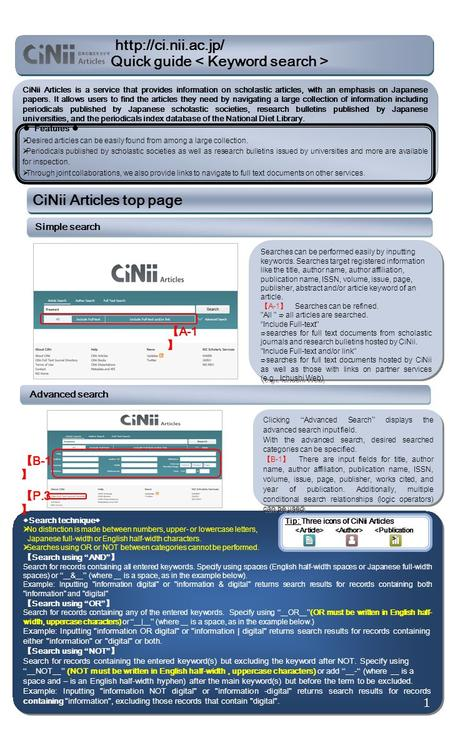 CiNii Articles is a service that provides information on scholastic articles, with an emphasis on Japanese papers. It allows users to find the articles.