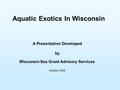 Aquatic Exotics In Wisconsin A Presentation Developed by Wisconsin Sea Grant Advisory Services October 2006.