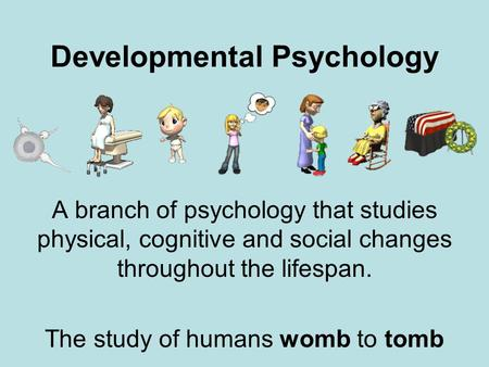 Developmental Psychology A branch of psychology that studies physical, cognitive and social changes throughout the lifespan. The study of humans womb to.