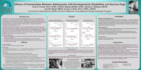 Www.postersession.com Effects of Partnerships Between Adolescents with Developmental Disabilities and Service Dogs Terry K. Crowe, Ph.D., OTR/L, FAOTA,