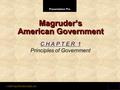 Presentation Pro © 2001 by Prentice Hall, Inc. Magruder's American Government C H A P T E R 1 Principles of Government.