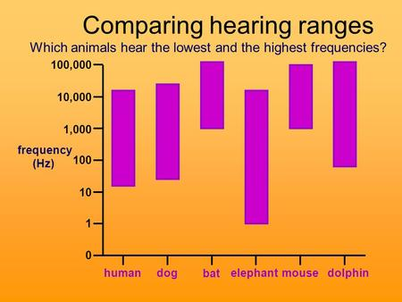 100,000 10,000 1,000 100 10 1 0 human dog elephant bat mouse dolphin Which animals hear the lowest and the highest frequencies? frequency (Hz) Comparing.