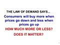 HOW MUCH MORE OR LESS? DOES IT MATTER? THE LAW OF DEMAND SAYS... Consumers will buy more when prices go down and less when prices go up 1.