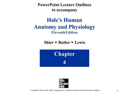 1 Hole's Human Anatomy and Physiology Eleventh Edition Shier  Butler  Lewis Chapter 4 Copyright © The McGraw-Hill Companies, Inc. Permission required.