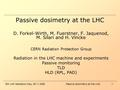 5th LHC Radiation Day, 29.11.2005Passive dosimetry at the LHC 1 D. Forkel-Wirth, M. Fuerstner, F. Jaquenod, M. Silari and H. Vincke CERN Radiation Protection.