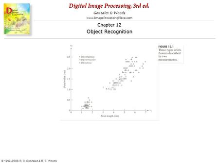 Digital Image Processing, 3rd ed. www.ImageProcessingPlace.com © 1992–2008 R. C. Gonzalez & R. E. Woods Gonzalez & Woods Chapter 12 Object Recognition.