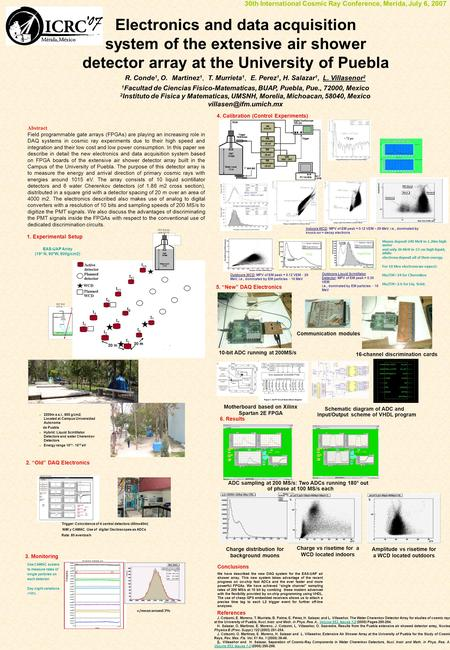 Electronics and data acquisition system of the extensive air shower detector array at the University of Puebla R. Conde 1, O. Martinez 1, T. Murrieta 1,