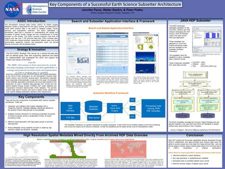 , Key Components of a Successful Earth Science Subsetter Architecture ASDC Introduction The Atmospheric Science Data Center (ASDC) at NASA Langley Research.