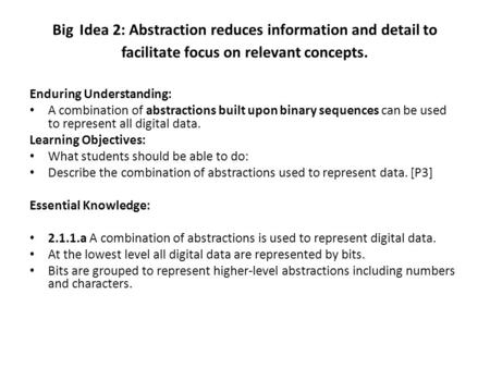 Big Idea 2: Abstraction reduces information and detail to facilitate focus on relevant concepts. Enduring Understanding: A combination of abstractions.