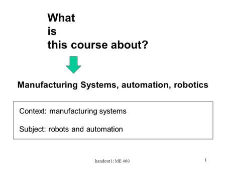 Handout 1: ME 460 1 Manufacturing Systems, automation, robotics What is this course about? Context: manufacturing systems Subject: robots and automation.