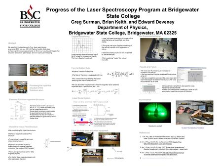 Progress of the Laser Spectroscopy Program at Bridgewater State College Greg Surman, Brian Keith, and Edward Deveney Department of Physics, Bridgewater.