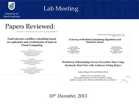 10 th December, 2013 Lab Meeting Papers Reviewed:.