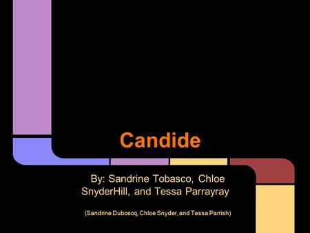 Candide By: Sandrine Tobasco, Chloe SnyderHill, and Tessa Parrayray (Sandrine Duboscq, Chloe Snyder, and Tessa Parrish)