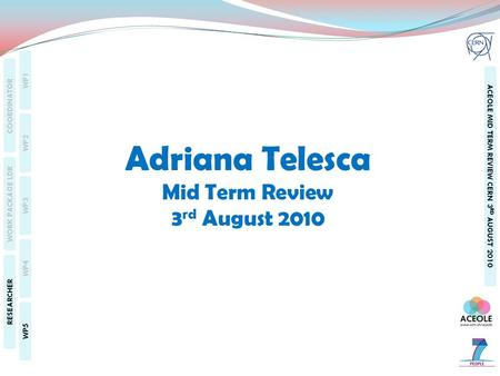WP1 WP2 WP3 WP4 WP5 COORDINATOR WORK PACKAGE LDR RESEARCHER ACEOLE MID TERM REVIEW CERN 3 RD AUGUST 2010 Adriana Telesca Mid Term Review 3 rd August 2010.