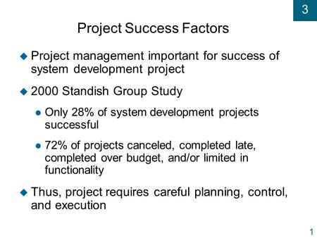 3 1 Project Success Factors u Project management important for success of system development project u 2000 Standish Group Study l Only 28% of system development.