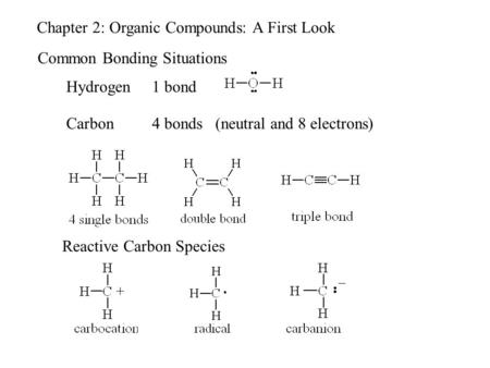 Chapter 2: Organic Compounds: A First Look Common Bonding Situations Hydrogen1 bond Carbon4 bonds (neutral and 8 electrons) Reactive Carbon Species.