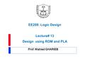 Prof. Wahied GHARIEB EE208: Logic Design Lecture# 13 Design using ROM and PLA.