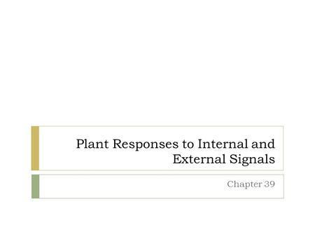 Plant Responses to Internal and External Signals Chapter 39.