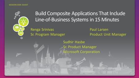 Sudhir Hasbe Sr. Product Manager Microsoft Corporation SESSION CODE: SIA307 Renga Srinivas Sr. Program Manager Paul Larsen Product Unit Manager.