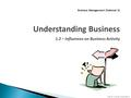 N5 Bus Man – 1.2: Business Influences © BEST Ltd Business Management (National 5) Understanding Business 1.2 – Influences on Business Activity.