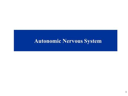1 Autonomic Nervous System. 2 Lecture Overview Review/Questions from last lecture (Brain II/Cranial Nerves) Autonomic Nervous System, ANS (pp. 87-89)