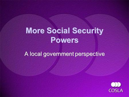 More Social Security Powers A local government perspective A local government perspective.