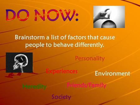 Brainstorm a list of factors that cause people to behave differently. Personality Experiences Heredity Environment Friends/Family Society.