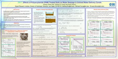 294-7: Effects of Polyacrylamide (PAM) Treated Soils on Water Seepage in Unlined Water Delivery Canals Jianting (Julian) Zhu 1, Michael H. Young 2 and.