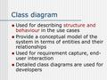 Class diagram Used for describing structure and behaviour in the use cases Provide a conceptual model of the system in terms of entities and their relationships.