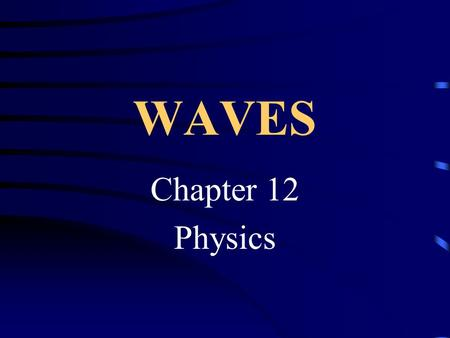 WAVES Chapter 12 Physics Waves transfer what? ENERGY!!!!
