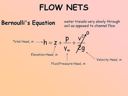 FLOW NETS Bernoulli's Equation Elevation Head, m Fluid Pressure Head, m Velocity Head, m water travels very slowly through soil as opposed to channel flow.