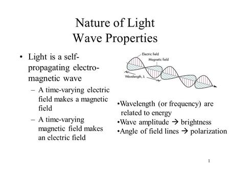 1 Nature of Light Wave Properties Light is a self- propagating electro- magnetic wave –A time-varying electric field makes a magnetic field –A time-varying.