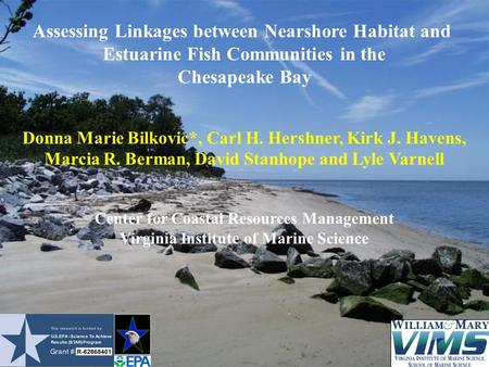Assessing Linkages between Nearshore Habitat and Estuarine Fish Communities in the Chesapeake Bay Donna Marie Bilkovic*, Carl H. Hershner, Kirk J. Havens,
