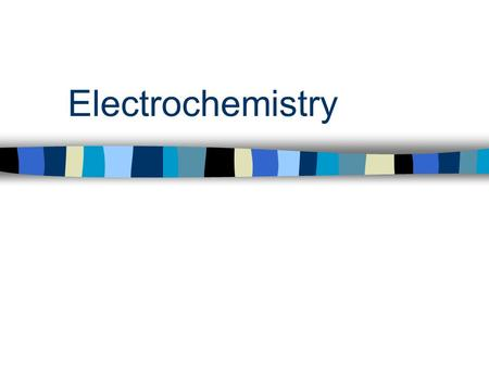Electrochemistry. Electrochemistry involves either… –generating electricity by harnessing a spontaneous chemical reaction (one with K > 1) OR –using electricity.