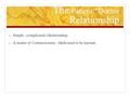 The Patient Doctor Relationship o Simple –complicated ) Relationship. o A matter of Common sense –Skills need to be learned.
