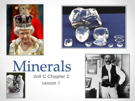 Minerals Unit C Chapter 2 Lesson 1. What is a mineral? A mineral is… #1-always a solid material with particles arranged in a repeating pattern (crystal).