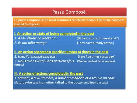 Passé Composé I. An action or state of being completed in the past 1. As-tu étudié ce weekend ? (Did you study this weekend?) 2. Ils ont déjà mangé. (They.