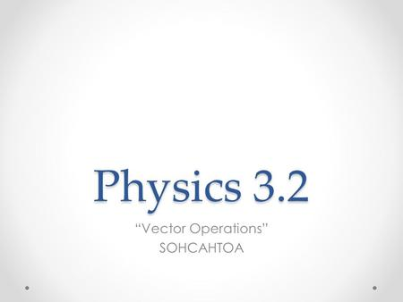 "Physics 3.2 ""Vector Operations"" SOHCAHTOA. I. Determining Resultant Magnitude and Direction."
