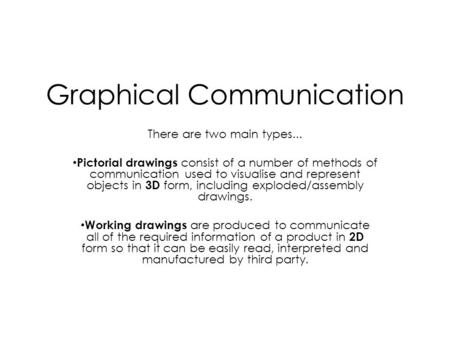 Graphical Communication There are two main types... Pictorial drawings consist of a number of methods of communication used to visualise and represent.
