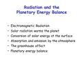 Electromagnetic Radiation Solar radiation warms the planet Conversion of solar energy at the surface Absorption and emission by the atmosphere The greenhouse.