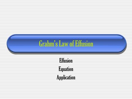 Grahm's Law of Effusion Effusion Equation Application.