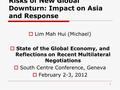 Risks of New Global Downturn: Impact on Asia and Response  Lim Mah Hui (Michael)  State of the Global Economy, and Reflections on Recent Multilateral.